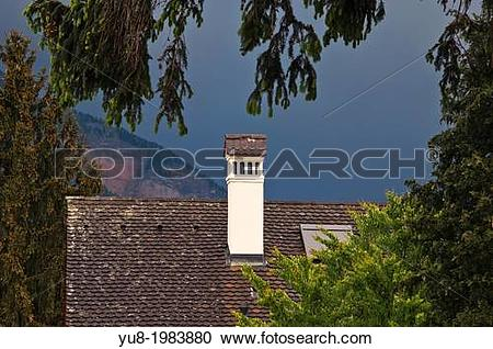 Stock Photography of Roof and chimney in rainy day, Weggis.