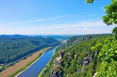 Saxon Switzerland View From Bastei To Wehlen Stock Photo.