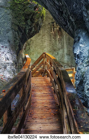 Stock Photo of Boardwalk in the Seisenberg Gorge, Weissbach stream.
