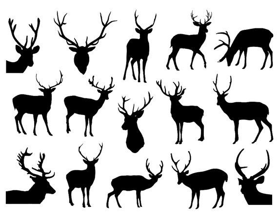 Hirsch Silhouette Clipart Deer Clipart Rentier von TheClipartPress.