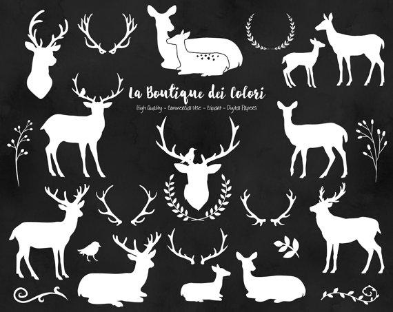 Weißer Hirsch Silhouette Cliparts von LaBoutiqueDeiColori auf Etsy.