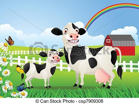 Vector van baby, wei, koe, Moeder.