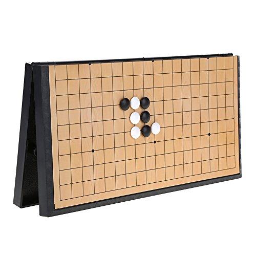 Alomejor Conjunto de Juego de Mesa de ajedrez con Piedras plásticas  magnéticas y Tablero de ajedrez Plegable Weiqi Juegos educativos para niños.