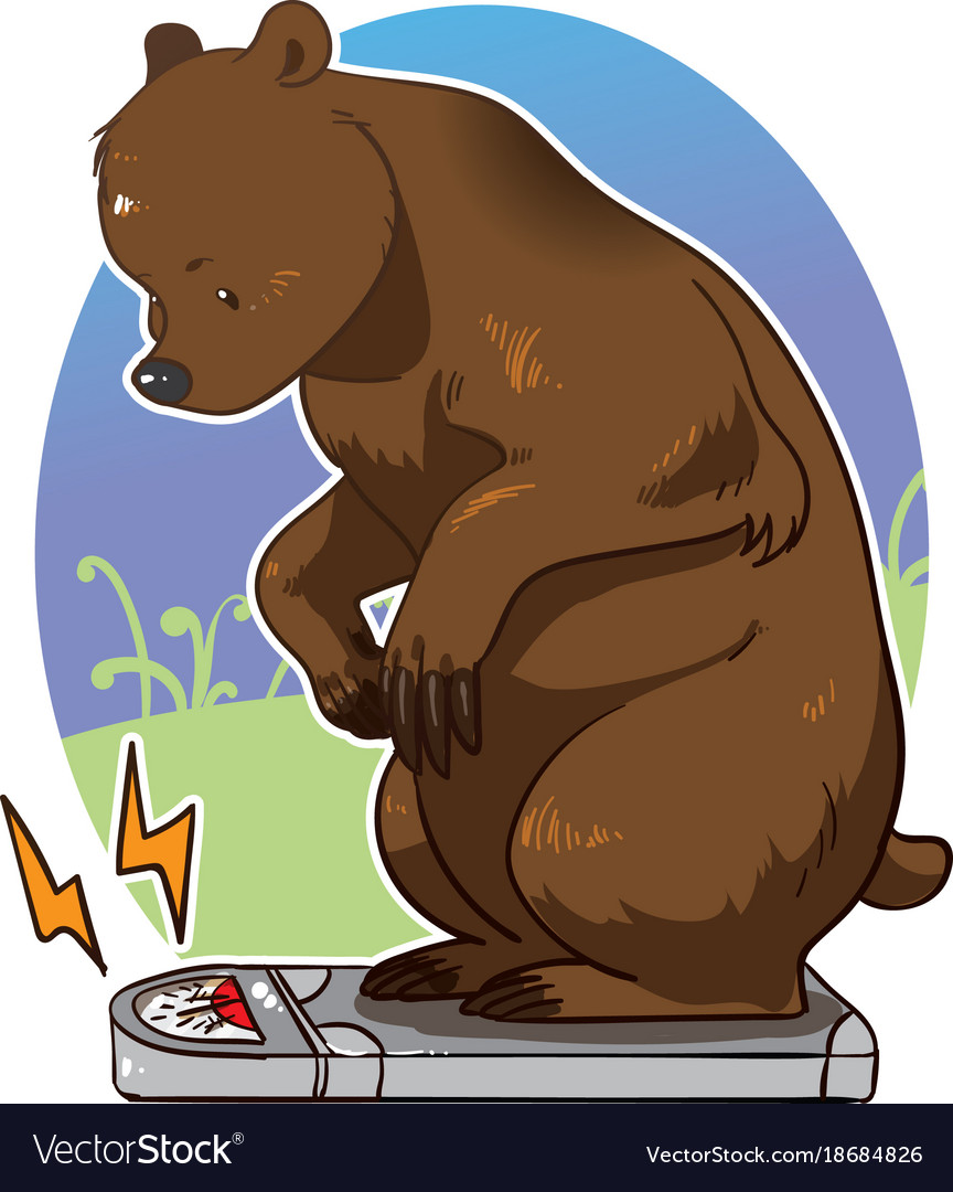 Bear stepping on scale and weighing itself.
