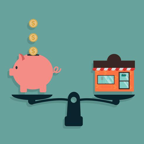 Piggy Bank and Shop on weighing machine.