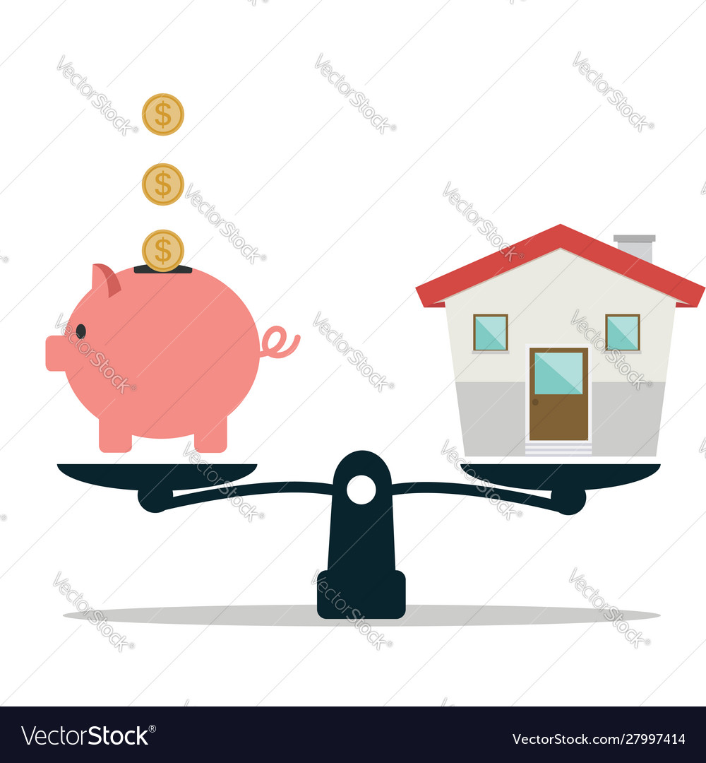Piggy bank and house on weighing machine.