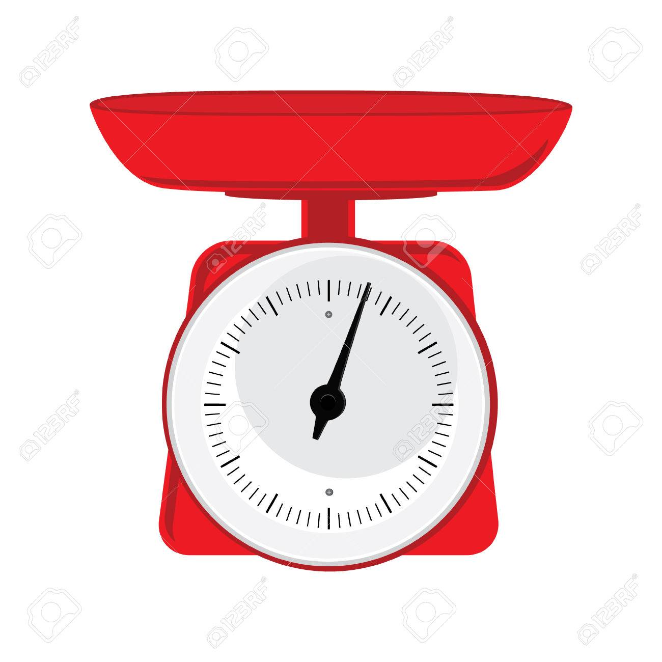 Vector illustration red weight scale on white background. Weighing...
