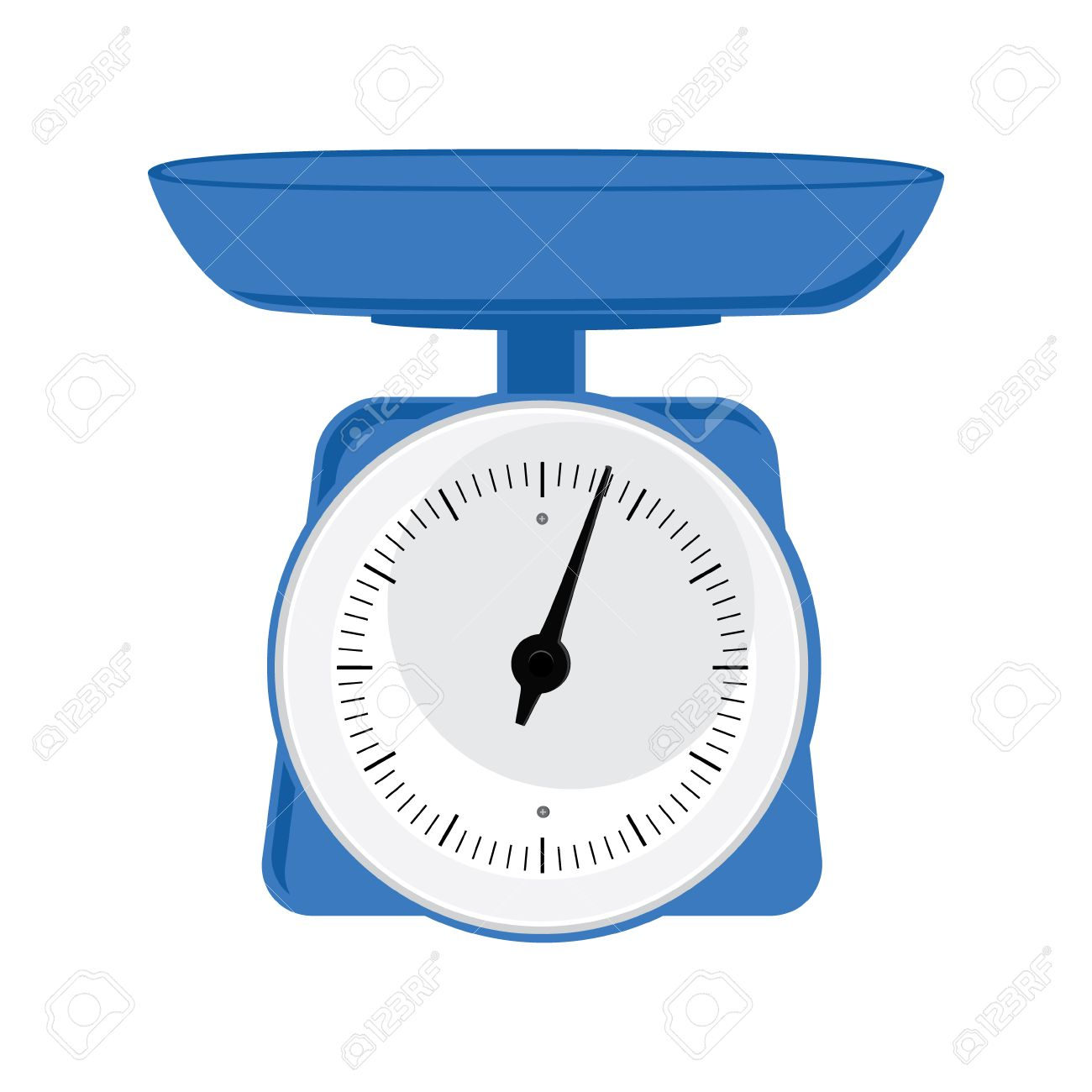Vector illustration blue weight scale on white background. Weighing...