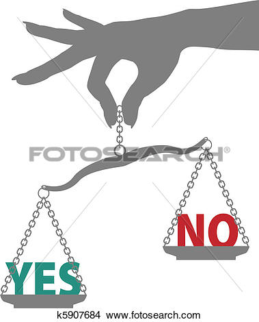 Clipart of Person hand weighs YES NO answer on scale k5907684.