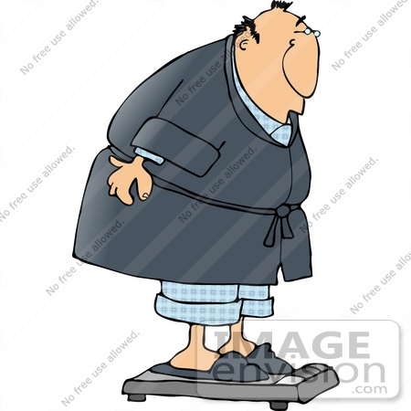 Man Weighing Himself Clipart.
