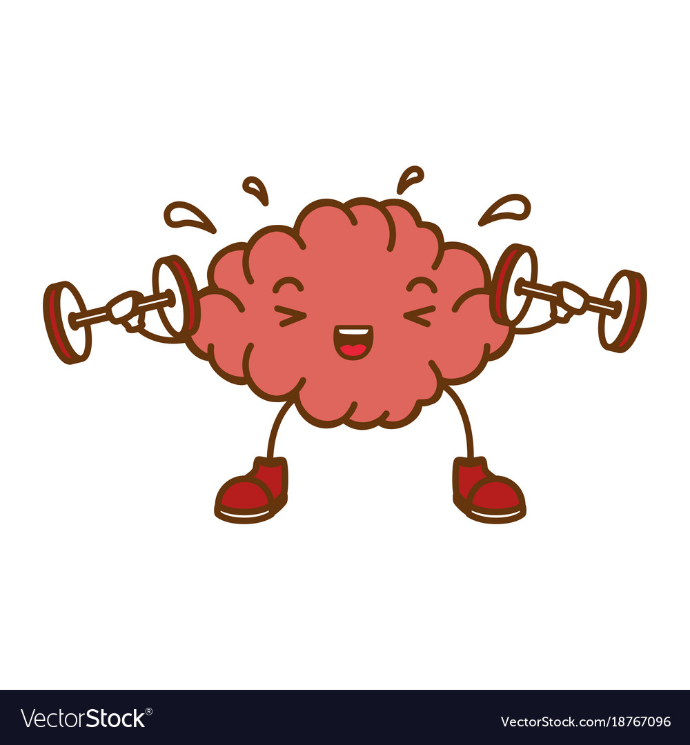 Brain with weight lifting kawaii character.