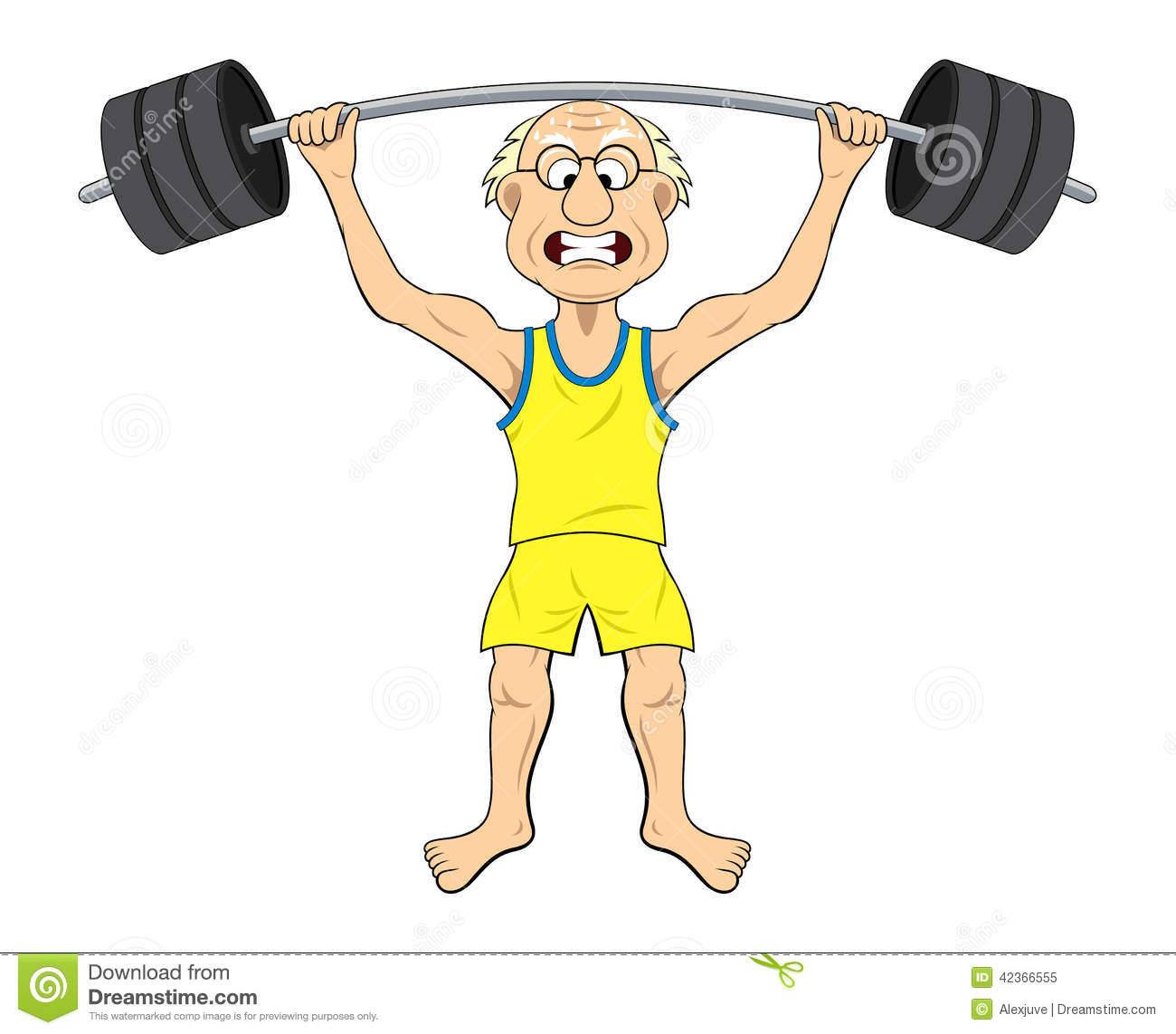 Weight Lifting Old Man Cartoons Clipart.