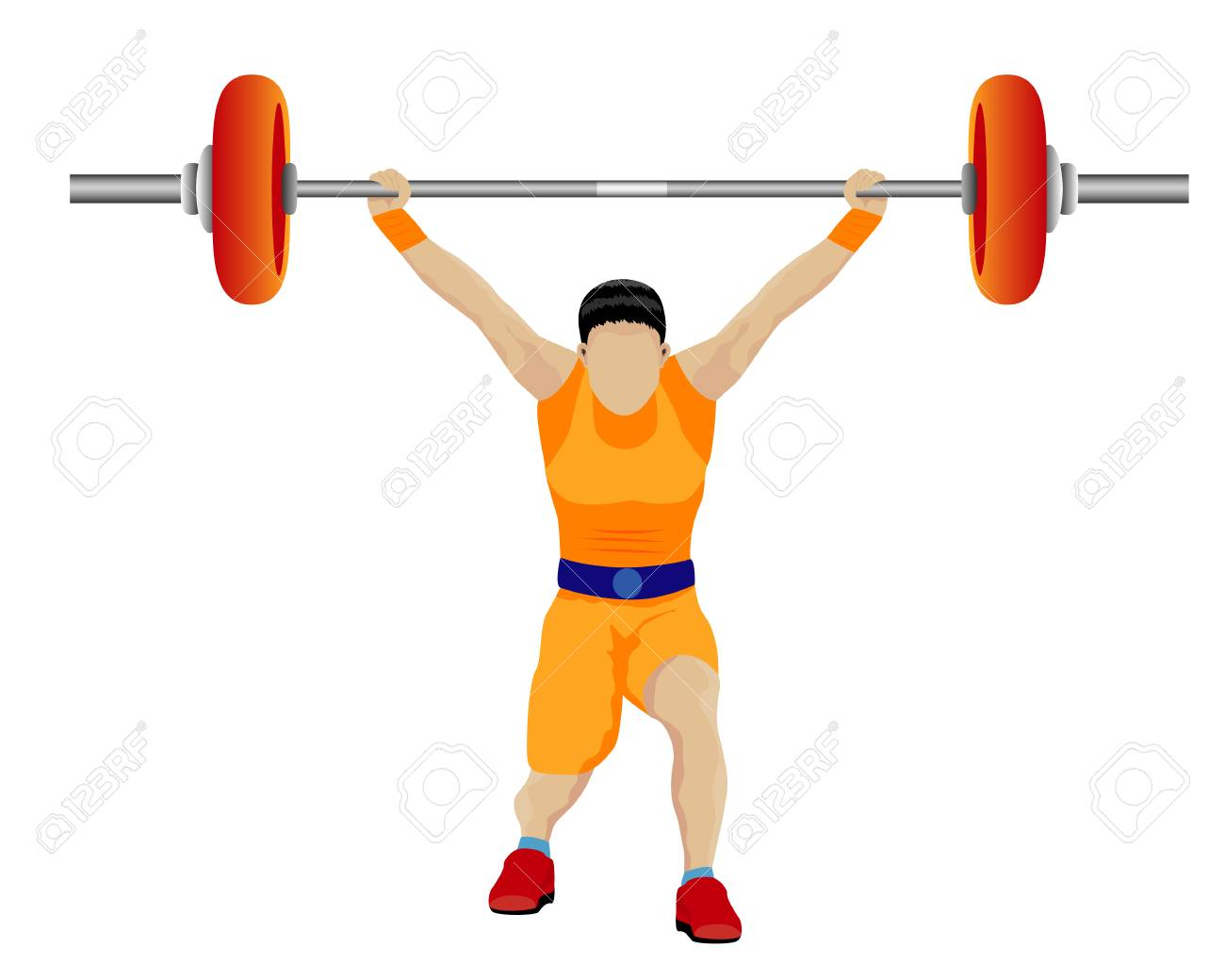 weight lifting cartoon shape design.