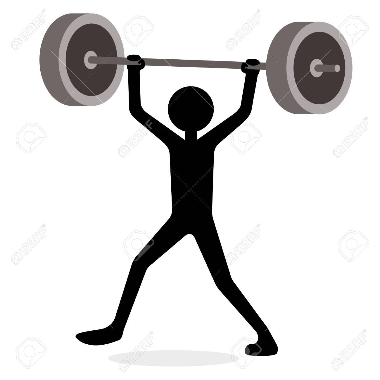 Man lifting weights, funny cartoon concept.