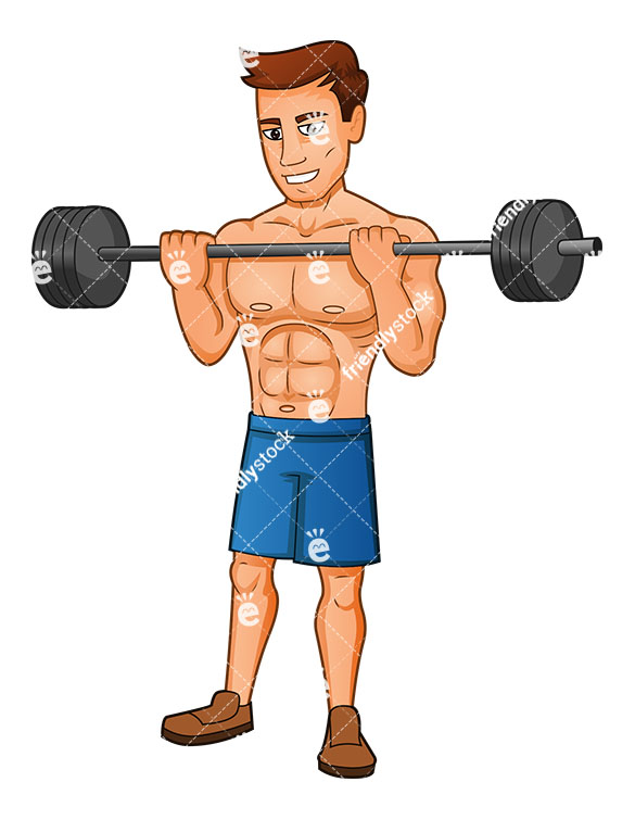 Muscular Man Doing Weightlifting With A Barbell.