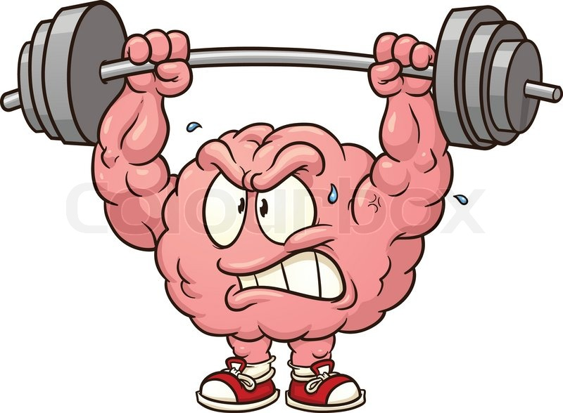 Strong weightlifting brain clip art..