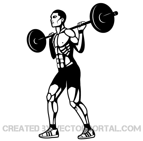 Weightlifting Vector Clip Art.