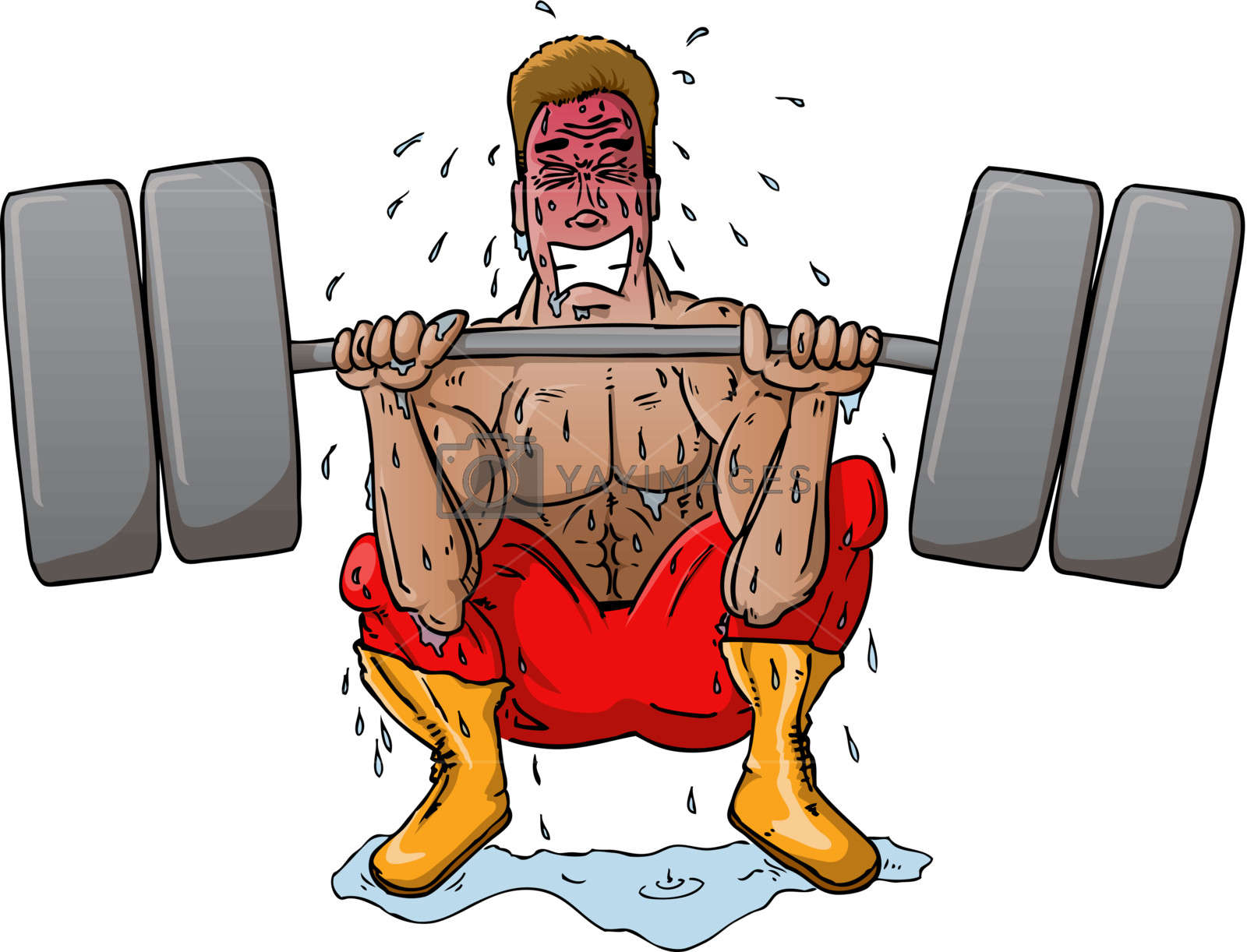 Struggling Weight Lifter Stock Image.