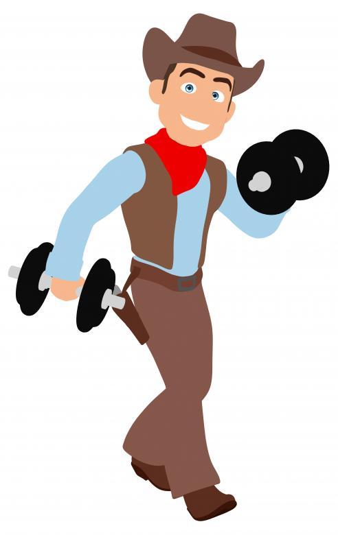 Fun Cowboy Lifting Weights.