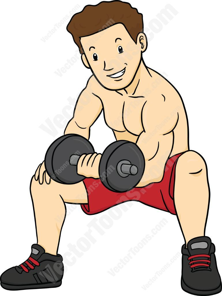 Muscular man in red shorts sitting and doing bicep curls.