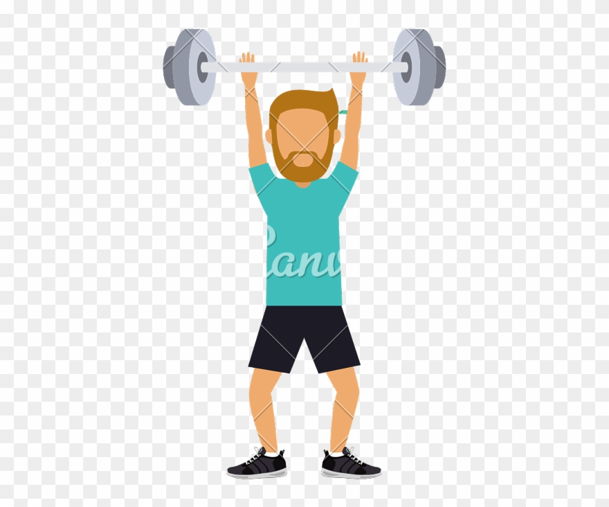 Male Practising Weight Lifting.
