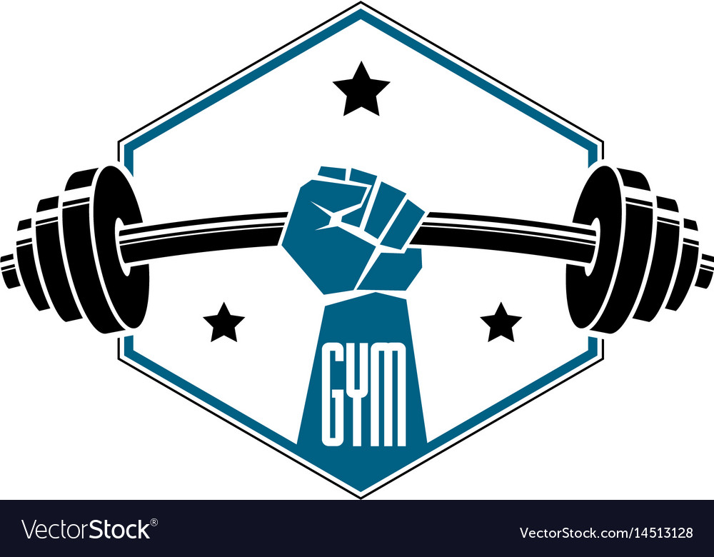 Gym weightlifting and fitness sport club logo.