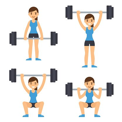 Woman lifting barbell Clipart Image.