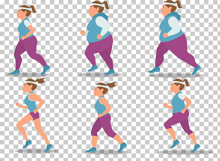 Weight loss Fat Illustration, Sports female fat girl slim.