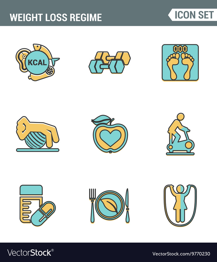 Icons line set premium quality of weight loss.