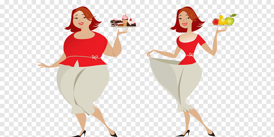 Two women in red top illustration, Weight loss Diet.