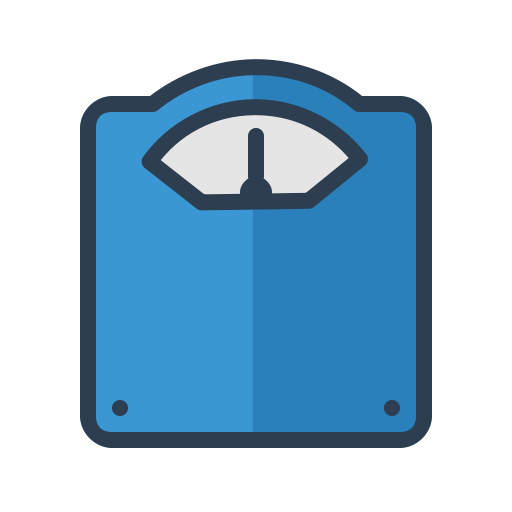 Get fit, lean, lose, weight, weight scales icon.