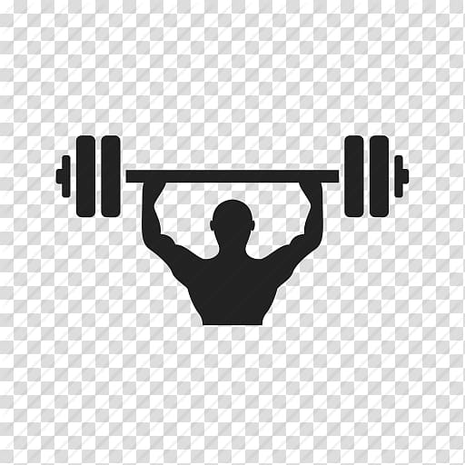 Silhouette illustration of weight lifter, Fitness centre.
