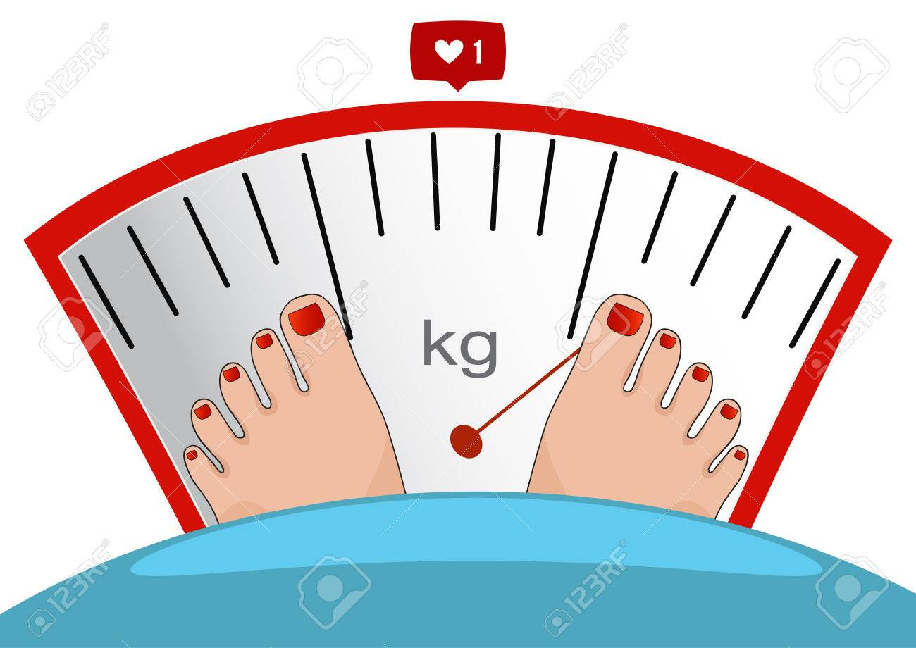 Fat man or woman standing on weight scale with heavy weight,...