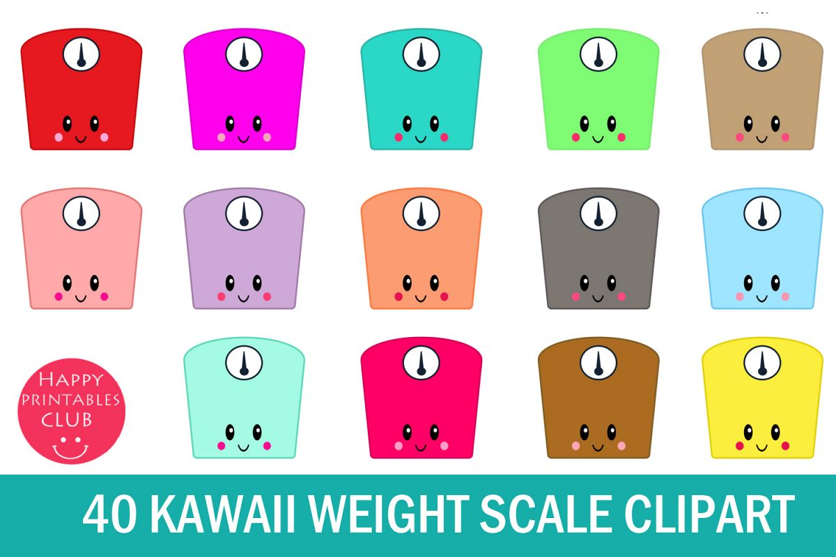 40 Kawaii Weight Scale Clipart.