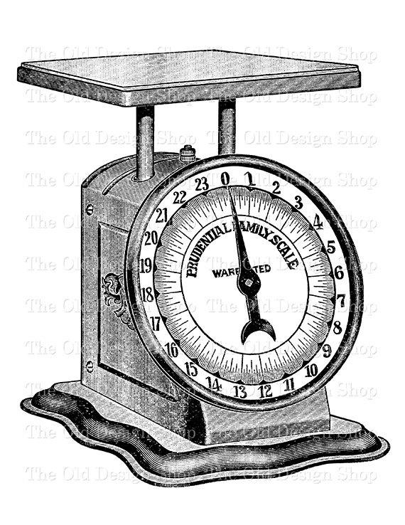 Vintage Kitchen Weigh Scale Clip Art Digital Stamp Transfer.