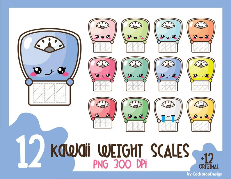 Scale clip art, kawaii clip art, kawaii clipart, weight scale clip art,  scale clip art, weight scale clip art, Commercial Use.