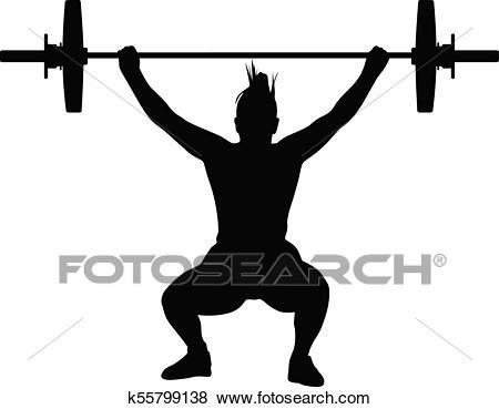 Weight lifting girl Clip Art.