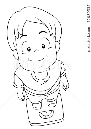 Kid Boy Weighing Scale Coloring Page.