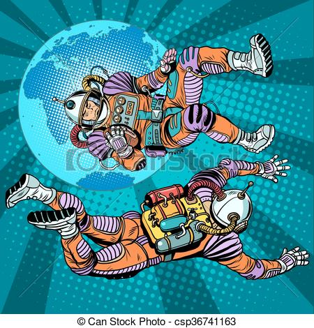 Clip Art Vector of weightlessness astronauts in space over the.