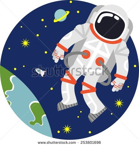 cosmic seamless pattern, cute doodle astronauts floating in space.