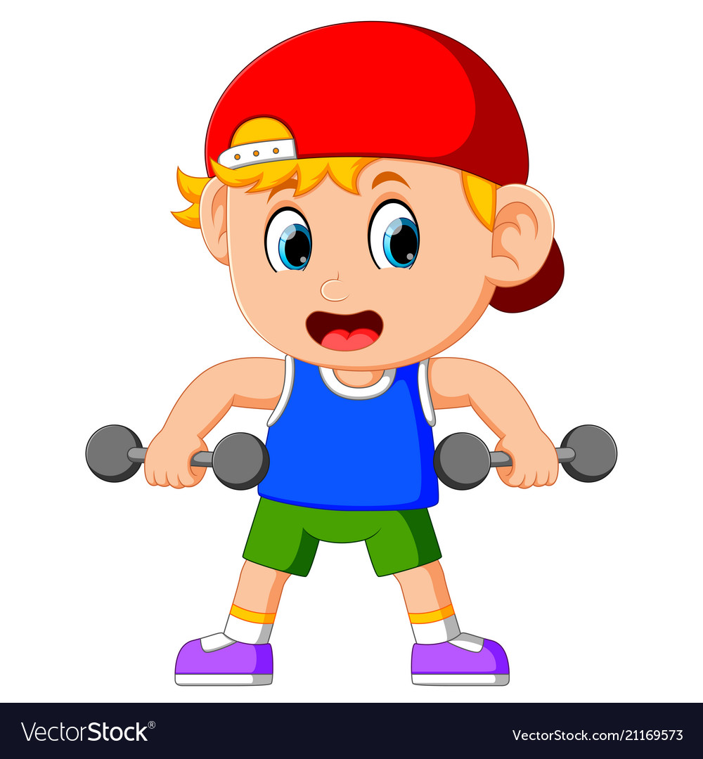 Young boy doing weightlifting.
