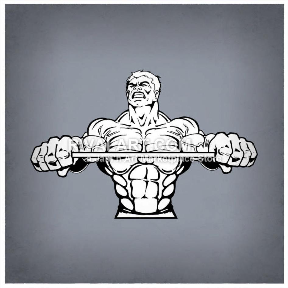 Weightlifter Holding Bar Weightlifting Bodybuilder.