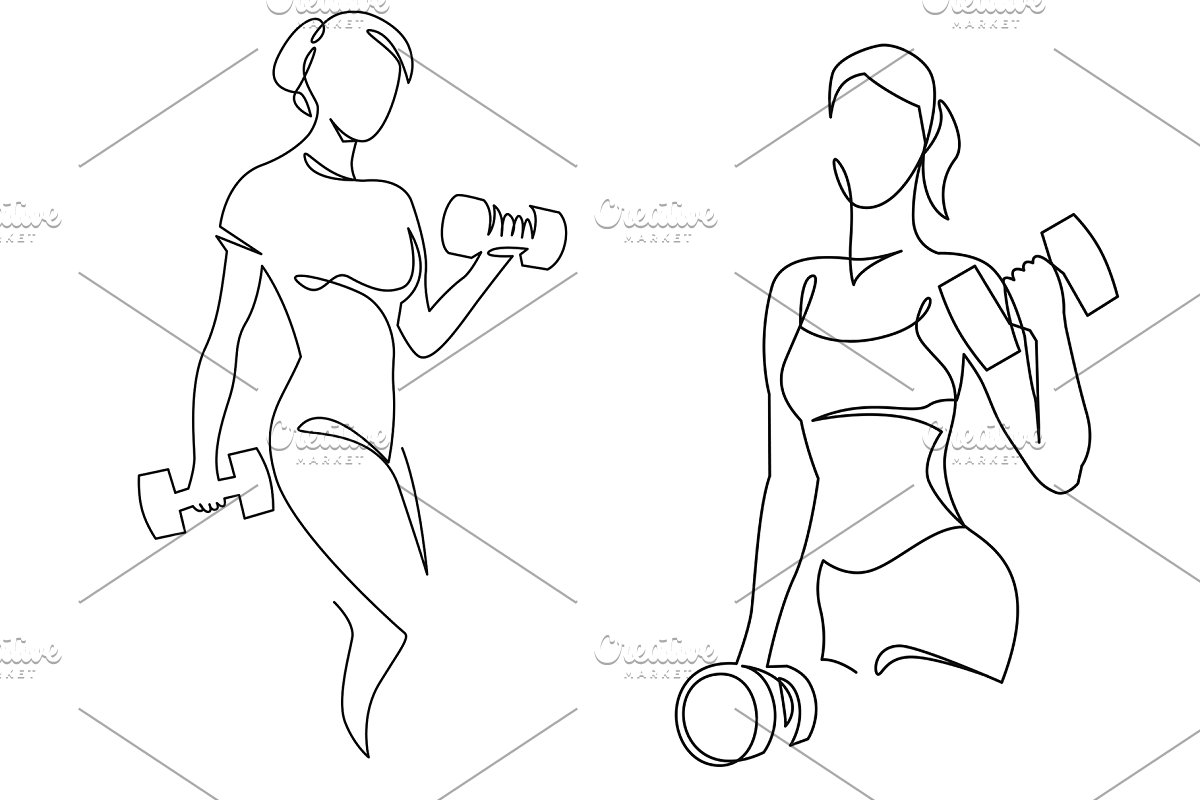 Woman lifting weights one line art.