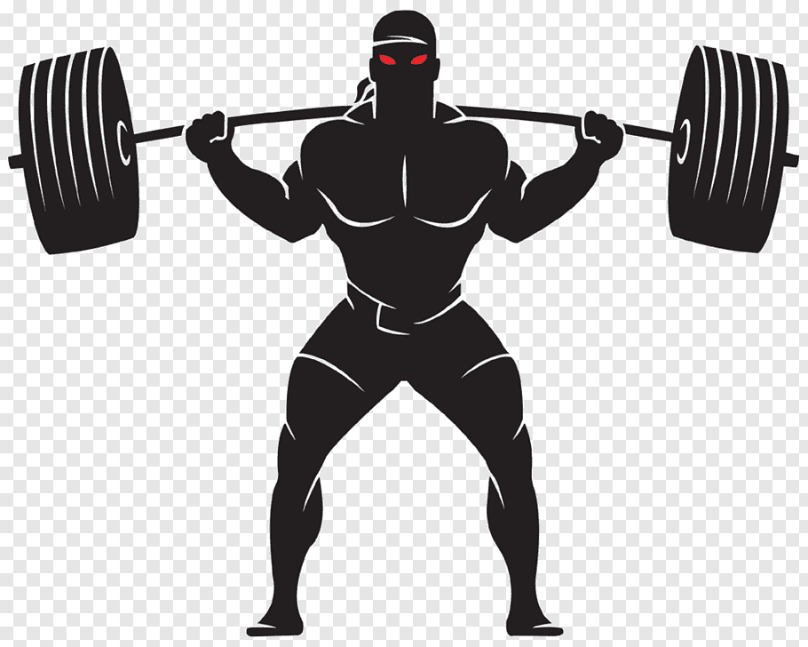 Man carrying barbell, Olympic weightlifting Weight training.