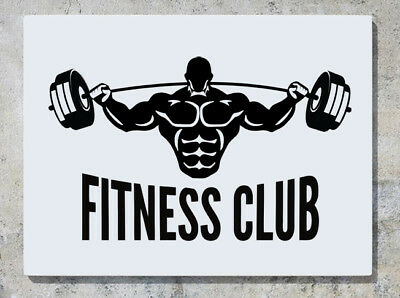 Fitness Club Gym Keep Fit Sign Logo Weights Muscle Wall Decal Sticker  Picture.