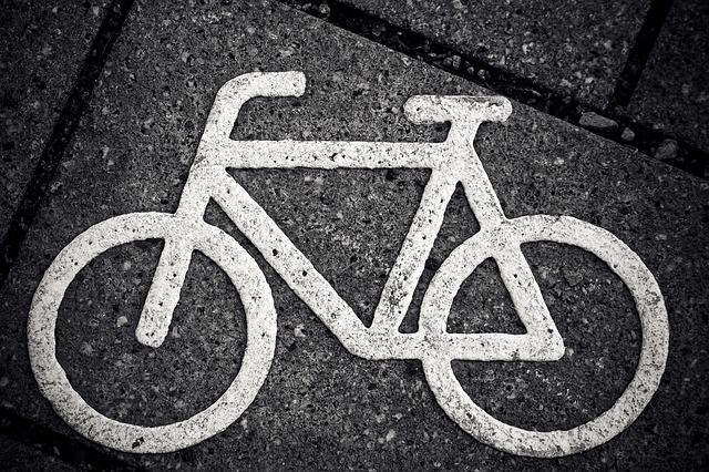 Free photo Cycle Path Characters Bike Cycle Path Signs.