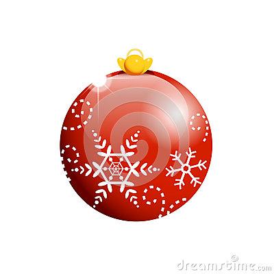 Rote Weihnachtskugel Mit Flocken Lizenzfreies Stockbild.