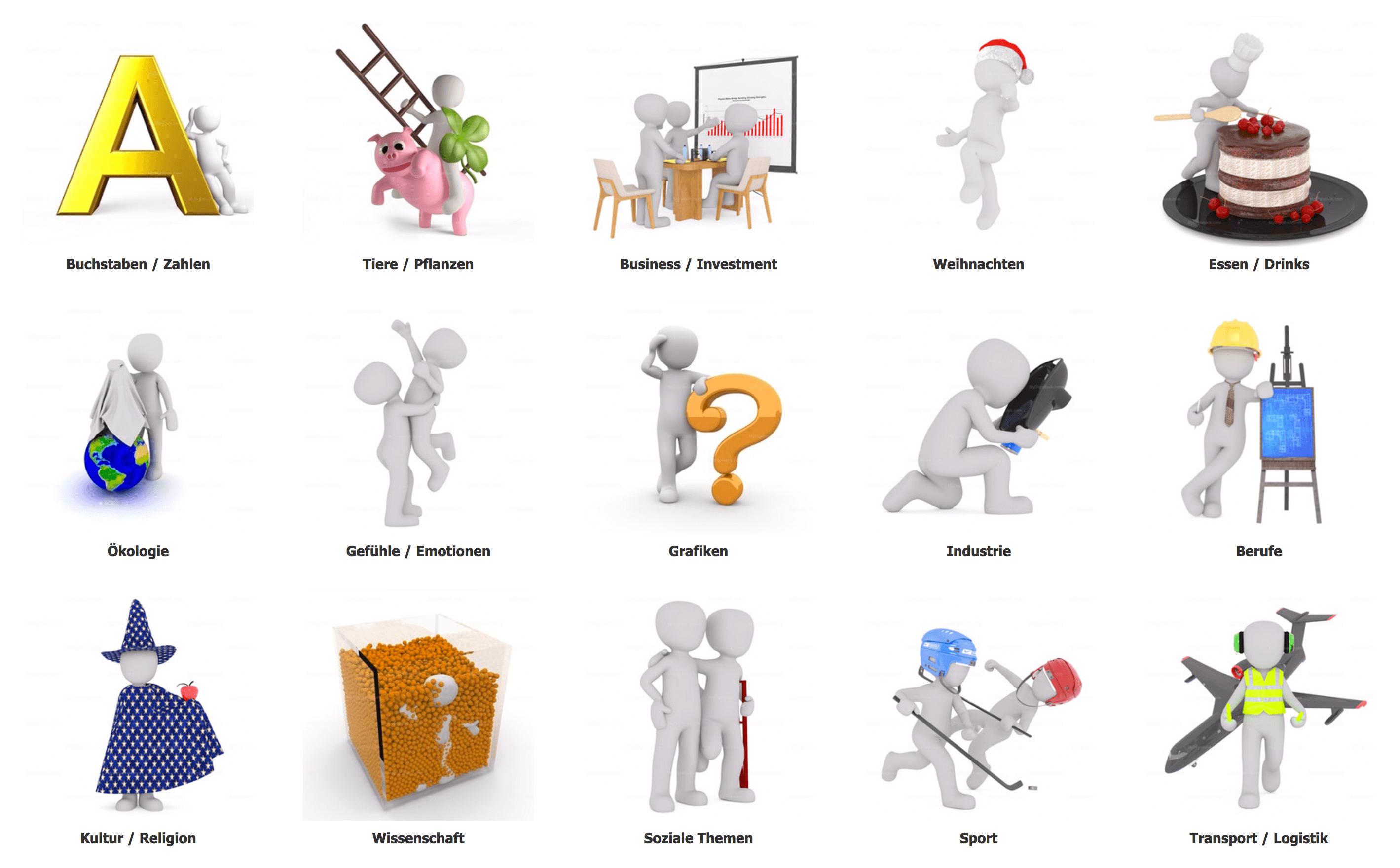 3D Männchen als Illustrationen.