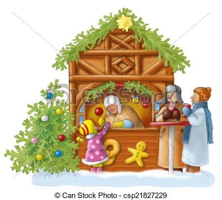 Weihnachtsmarkt Clip Art and Stock Illustrations. 9.