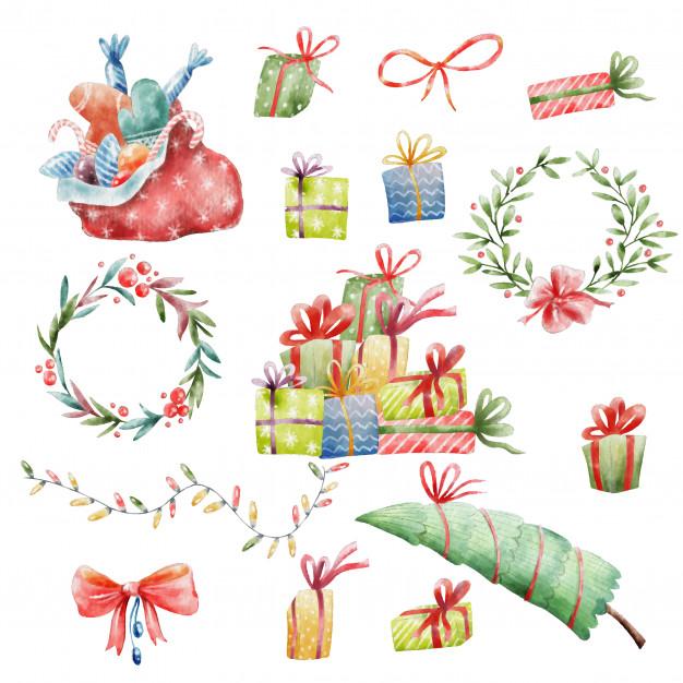 Handgemalte weihnachten clipart.